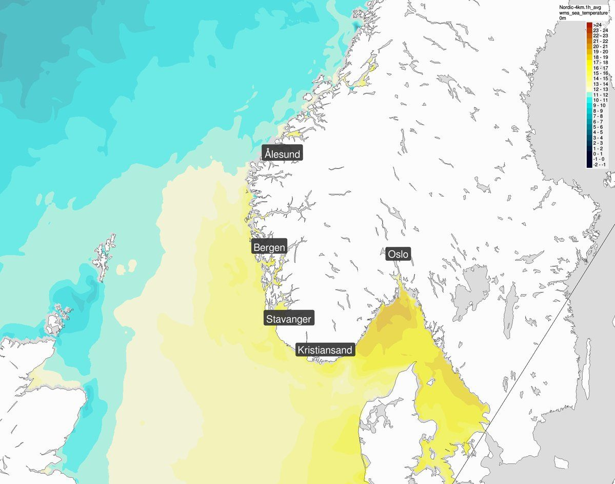 VARMT HAV: Det er over 20 grader i indre Skagerrak nå, melder Meteorologisk institutt på Twitter.