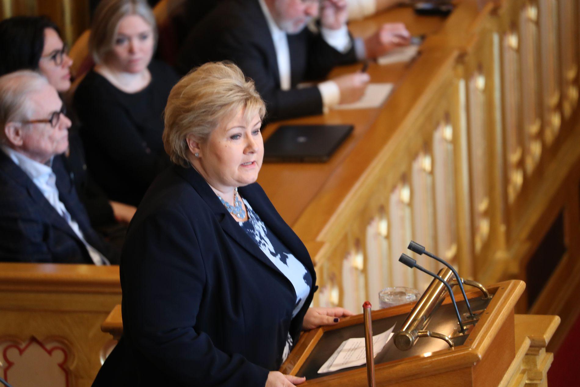 HÅPER PÅ NY START: Statsminister kommenterte kort Listhaugs avgang fra Stortingets talerstol, og sa hun ønsket å legge diskusjonen bak oss.