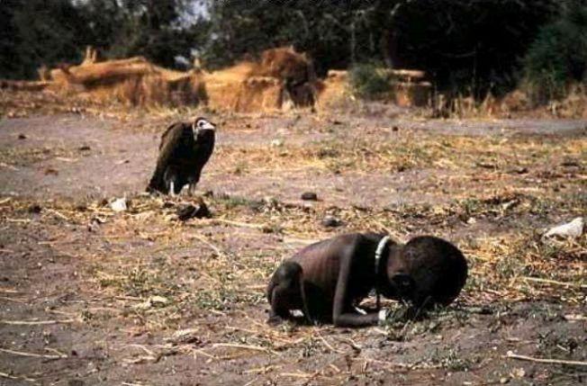JENTA OG GRIBBEN: Dette bildet ble tatt en Kevin Carter og en gruppe journalister og fotografer ble med et FN-fly på en matsending til sultende sudanesere sør i landet under hungersnøden i 1993. Carter var en del av Bang Bang Club, en gruppe sørafrikanske fotografer som tok prisvinnende bilder på 1990-tallet.
