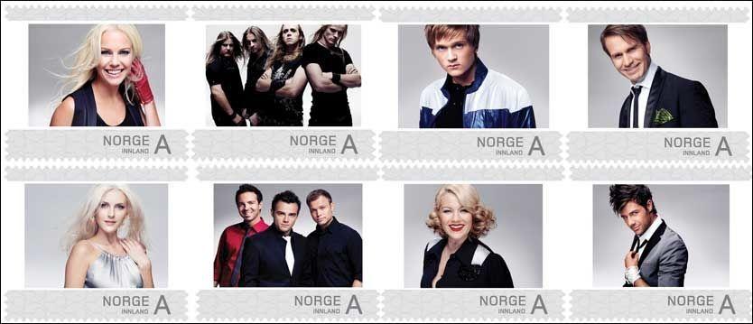 66d4ad50 BLIR FRIMERKER: Finalistene i Melodi Grand Prix 2010. Foto: Posten Norge