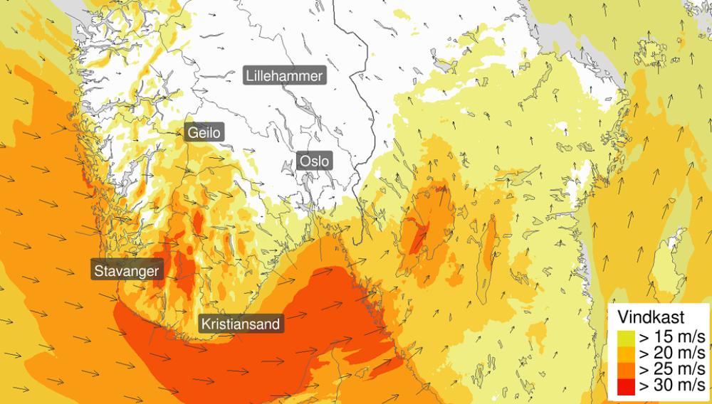 NYTT UVÆR: Lavtrykk i Rogaland, Sørlandet og Østlandet vil føre til kraftig vind fredag ettermiddag.