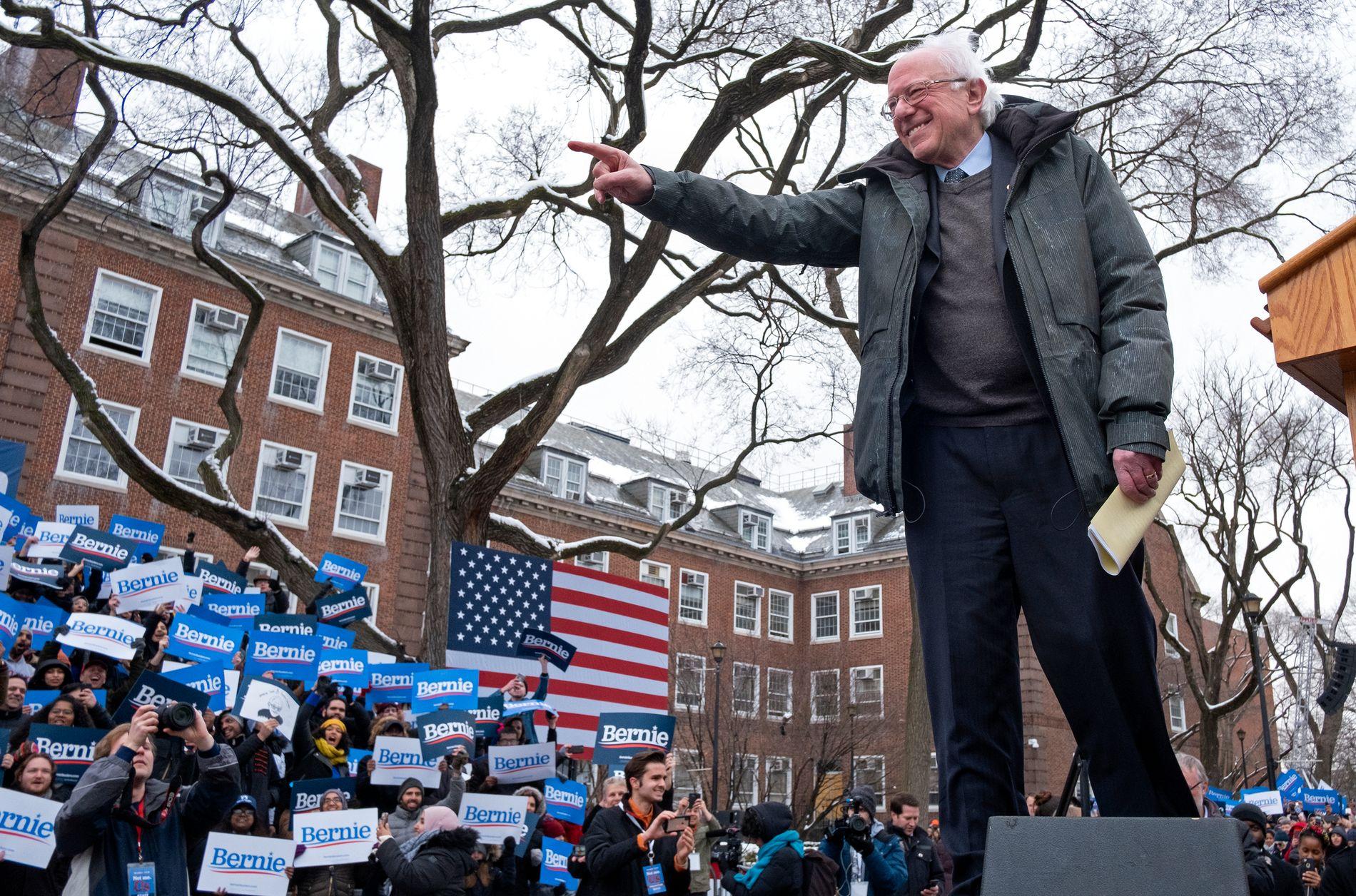 BROOKLYN: Bernie Sanders sparket i gang sin valgkamp lørdag 2. mars i New York.