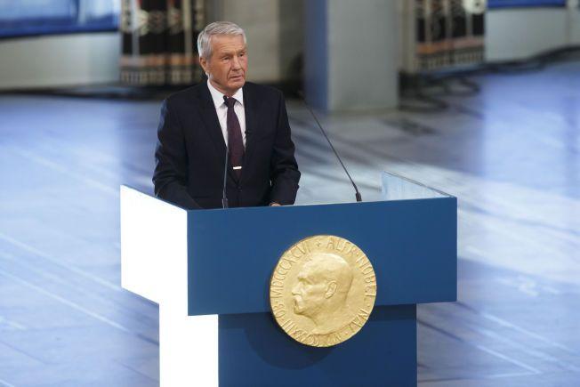 KLAR TALE: Her er Jagland på talerstolen under årets Nobelprisutdeling.