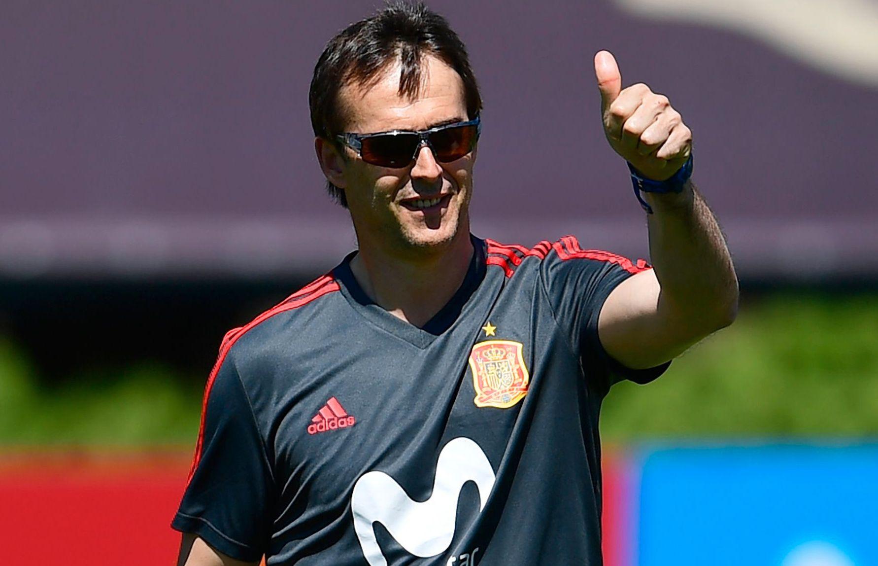 NY REAL MADRID-TRENER: Julen Lopertegui blir Real Madrid-trener. Her er han på treningsfeltet i oppladningen til VM med Spania mandag.
