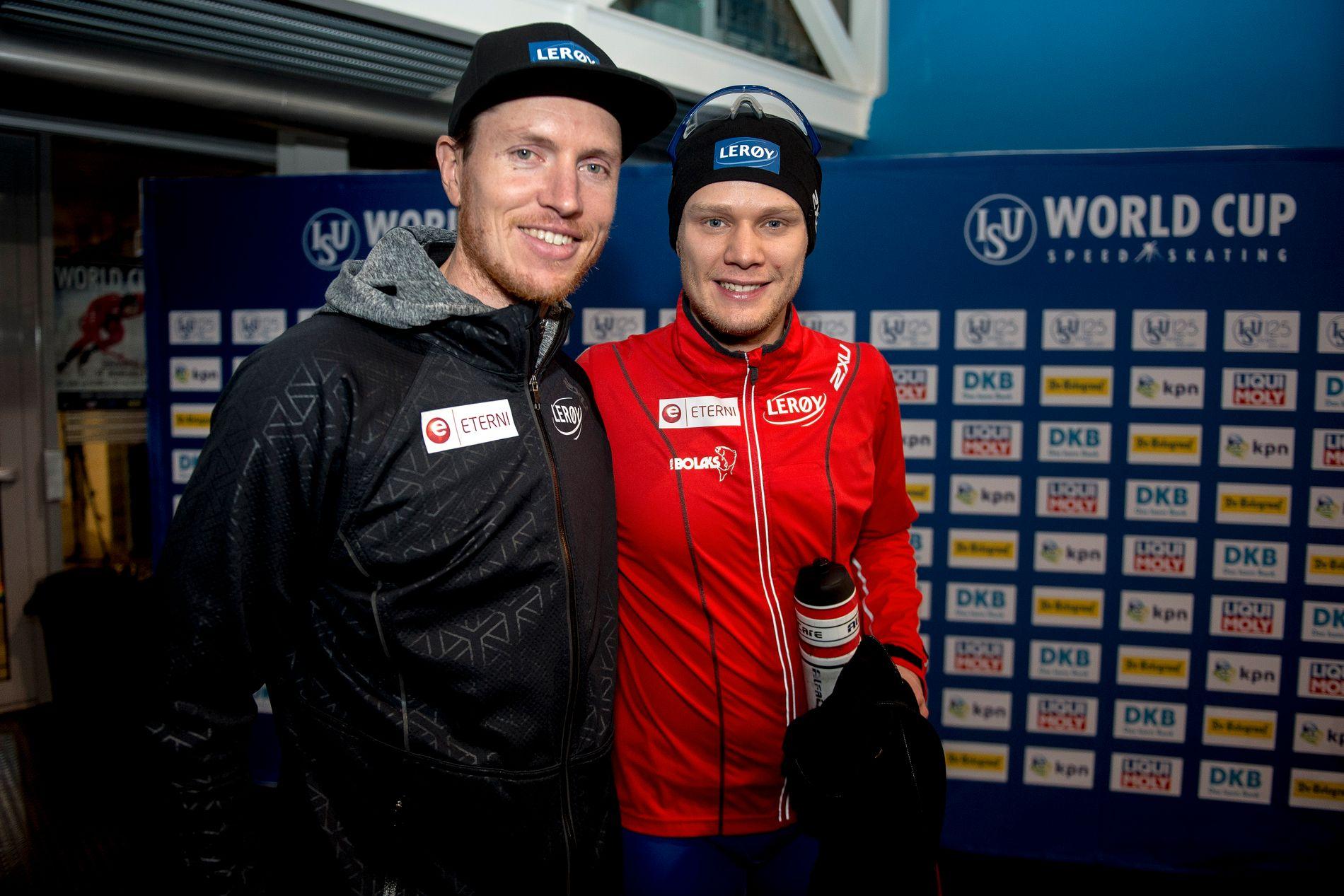 VELFUNGERENDE DUO: Trener Jeremy Wotherspoon og Håvard Holmefjord Lorentzen var glad for to verdenscupseirer i Sørmarka Arena. Foto: Carina Johansen/NTB scanpix