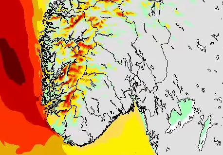 STORM: Dette kartet viser hvor det vil blåse mest klokken 22 onsdag kveld. De lyserøde feltene er sterk kuling til liten storm.