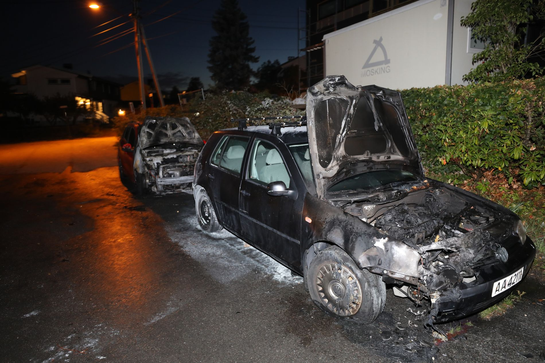 TOTAL DAMAGE: All four cars were completely damaged during the fire of the night.