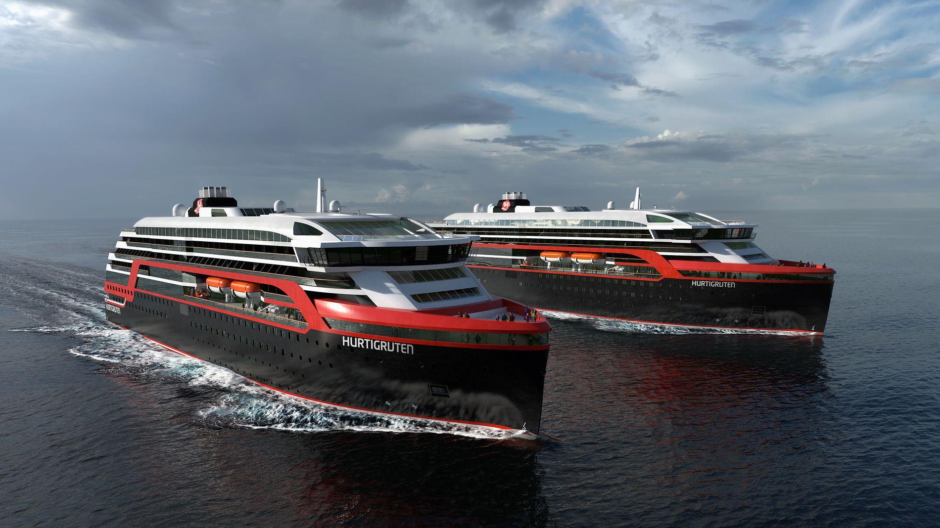 KAN BLI FIRE: Illustrasjonsbilde av de nye Hurtigrute skipene. Torsdag offentliggjorde Hurtigruten og Kleven en intensjonsavtale om å bygge to nye hurtigruter som skal leveres i 2018 og 2019.