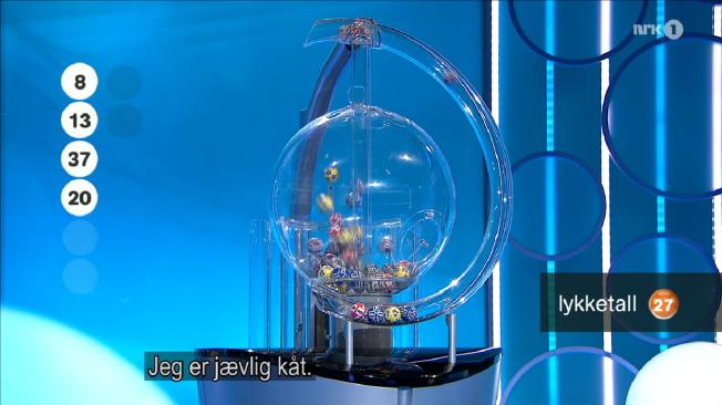 LYKKETALL?: Dette dukket opp som undertekst på NRKs sending av Viking Lotto i går kveld.