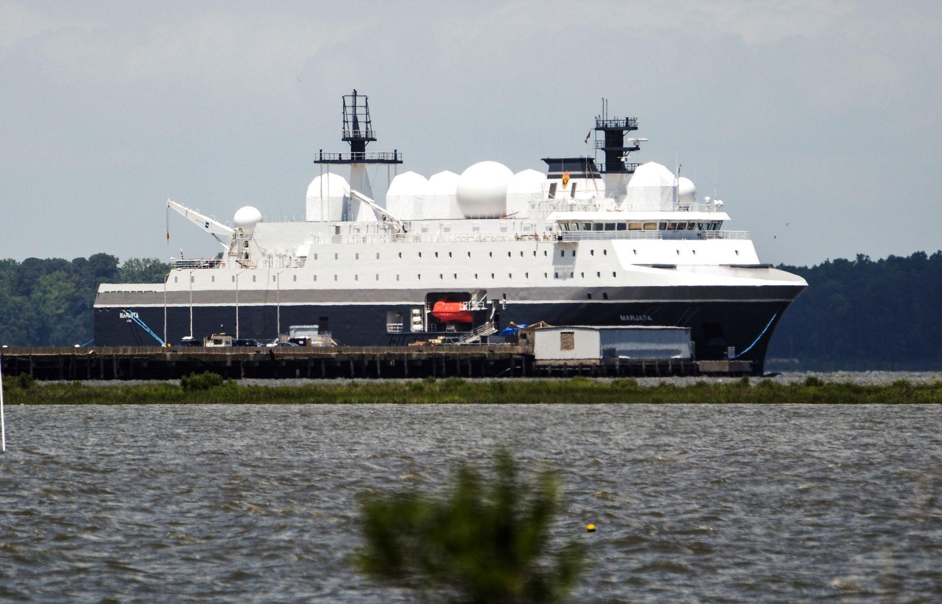 USA-ØNSKET: Norges nye overvåkningsskip «Marjata» fotografert på York-elven i Virginia i USA - der hun ble ustyrt ved en CIA-base. Norges etterretningsvirksomhet i Nordområdene er svært ettertraktet blant allierte.