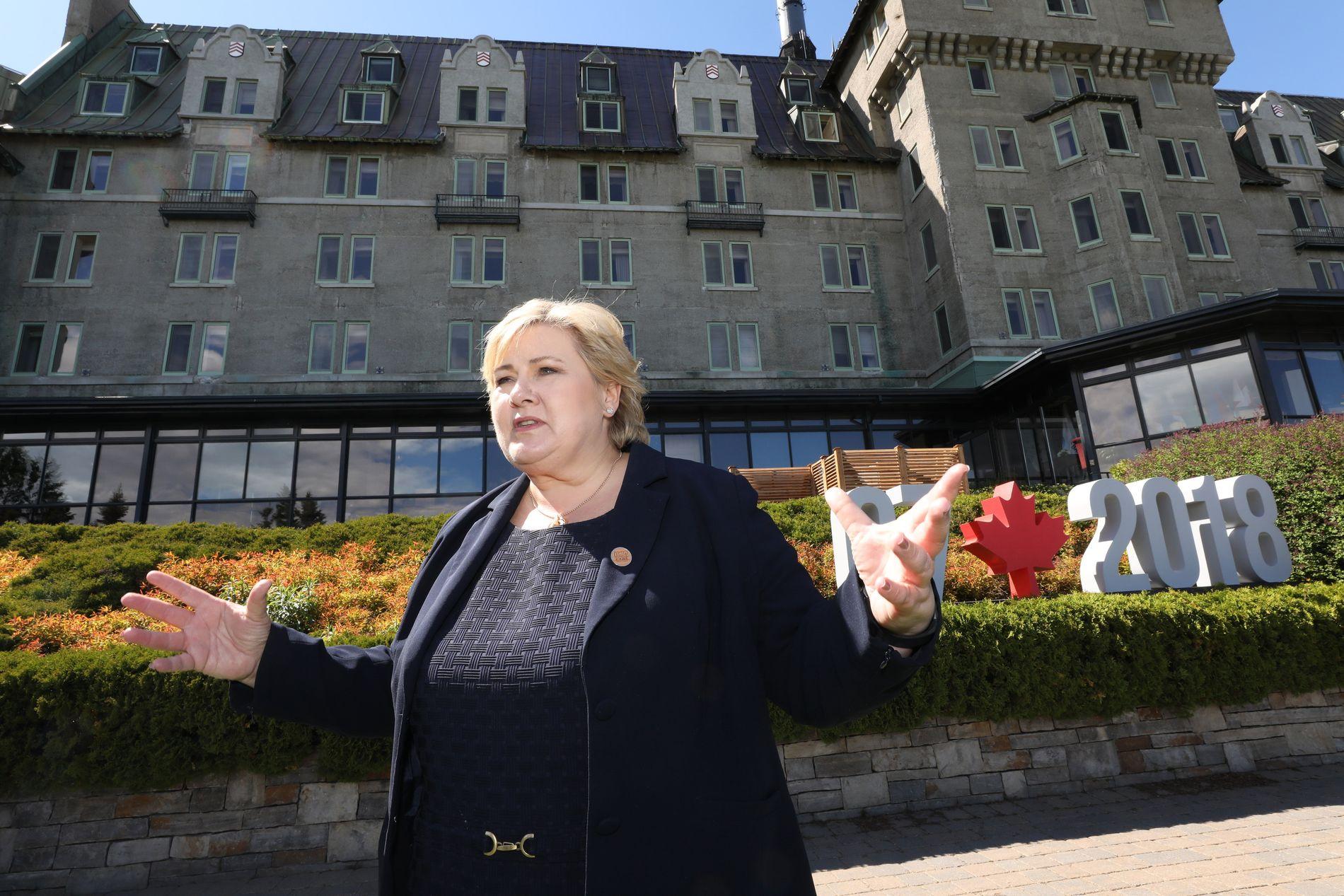 I CANADA: Erna Solberg tilbrakte lørdagen i selskap med G7-lederne. Bortsett fra Donald Trump som allerede hadde reist da Norges statsminister ankom.