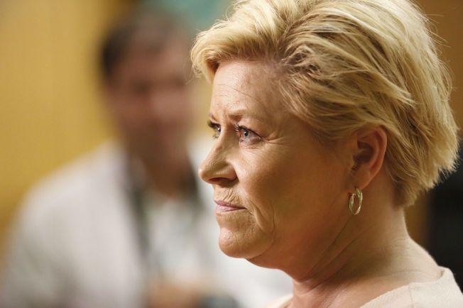 BESØKTE PENSJONISTENE: Finansminister Siv Jensen gjestet Pensjonistforbundets landsmøte på Gardermoen tirsdag.