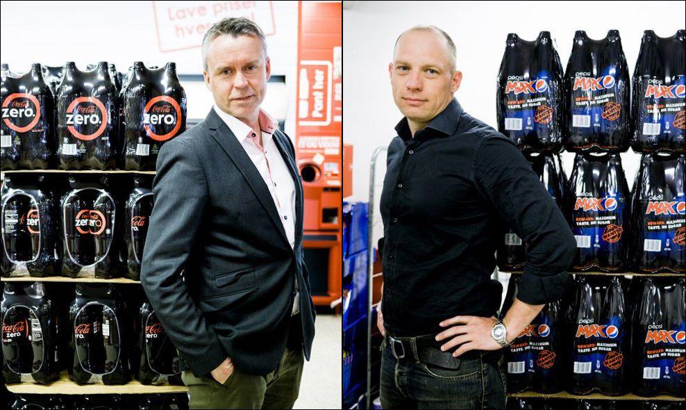 KAMPKLARE: Kommunikasjonsdirektør i Coca-Cola, Stein Rømmerud, utfordres av Christian Træland, markedsjef for Pepsi Max i Norge. Foto: KRISTER SØRBØ