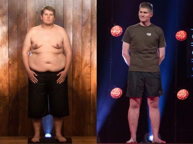 EKSTREM FORVANDLING: Lars Dahlum Johansen gikk helt til topps i «Biggest Loser». Under finalen på TVNorge viste vekten et tap på 68,5 kilo - fra startvekten på 157 kilo.