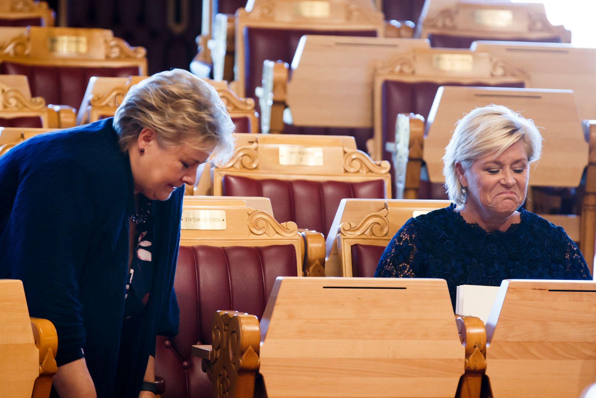SNUFS, SNUFS: Både statsminister Erna Solberg (H) og finansminister Siv Jensen (Frp) slet med forkjølelse da de la frem forslaget til statsbudsjett for 2017 i Stortinget torsdag forrige uke.