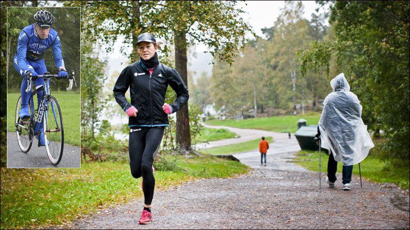 GIR KLESRÅD: Årets NM-vinner på 5000 meter i friidrett Christina Bus Holth, og tidligere sykkelproff Mads Kaggestad (innfeldt), vet hva som må til for å få best mulige treningsøkter ute i regn- og ruskevær. Foto: Krister Sørbø og Egil Svendsby