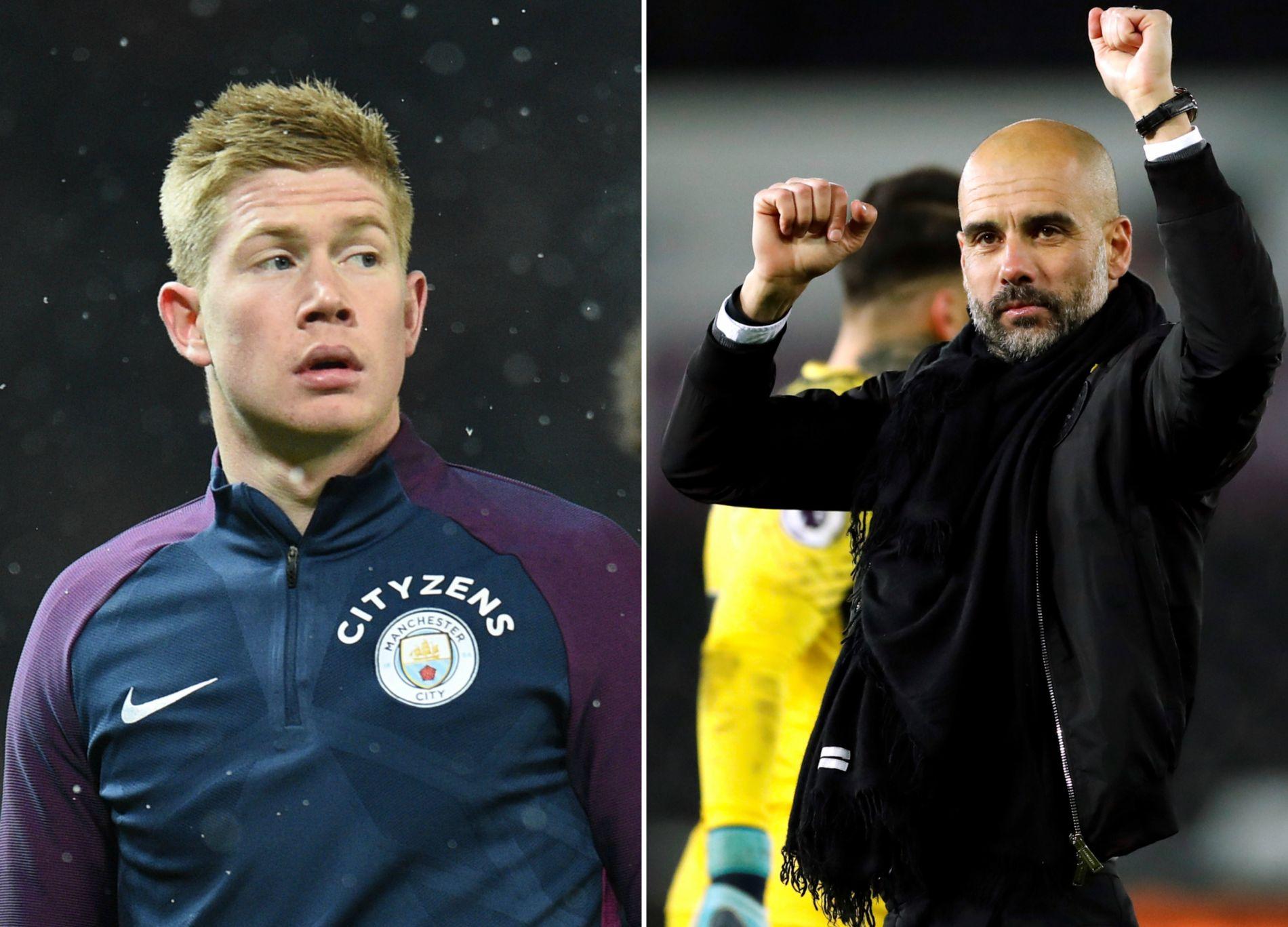 NYE KONTRAKTER? Ifølge britisk presse kan både Kevin De Bruyne (t.v.) og manager Pep Guardiola vente seg nye kontrakter i Manchester City.