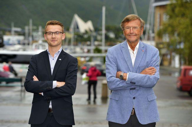 RIVALER: Aps Jarle Aarbakke (72) har vært rektor ved Universitetet i Tromsø, men er fersk innen politikken. Høyres Kristian Støback Wilhelmsen (24) har sittet i kommunestyret i Tromsø i fire år, og har møtt som vararepresentant på Stortinget i hundre dager.