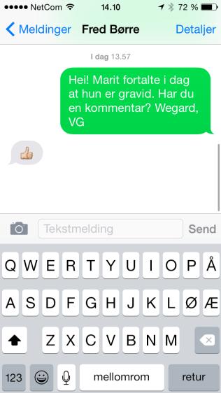 TOMMEL OPP! Slik responderte den tidligere kombinertmesteren Fred Børre Lundberg til VG på nyheten om at samboeren Marit Bjørgen er gravid.