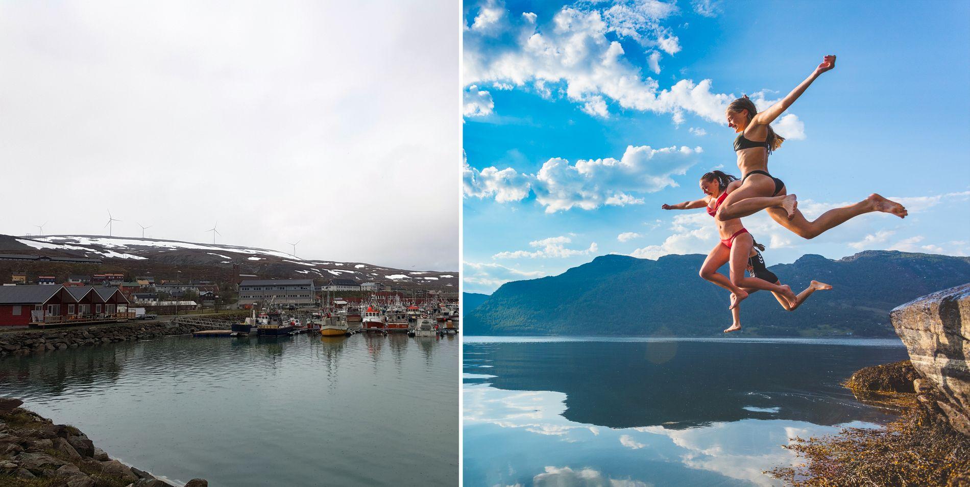 VARMEST OG KALDEST: I Båtsfjord i Finnmark (til høyre) kunne Rainer Hanssen se snø onsdag ettermiddag. I Etne i Hordaland ble det satt ny varmerekord onsdag, her bader søstrene Maria (17) og Synne Økland (15) på Beinstøvik på Osnes.