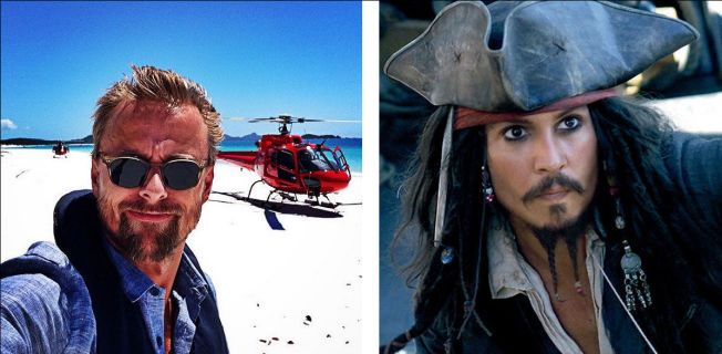 PÅ STRANDEN: Norske Joachim Rønning (t.v.) viser hvor de forbereder innspillingen. Ennå er det ikke formelt bekreftet at Johnny Depp (t.h.) gjentar rollen som kaptein Sparrow, men alt tyder på det.