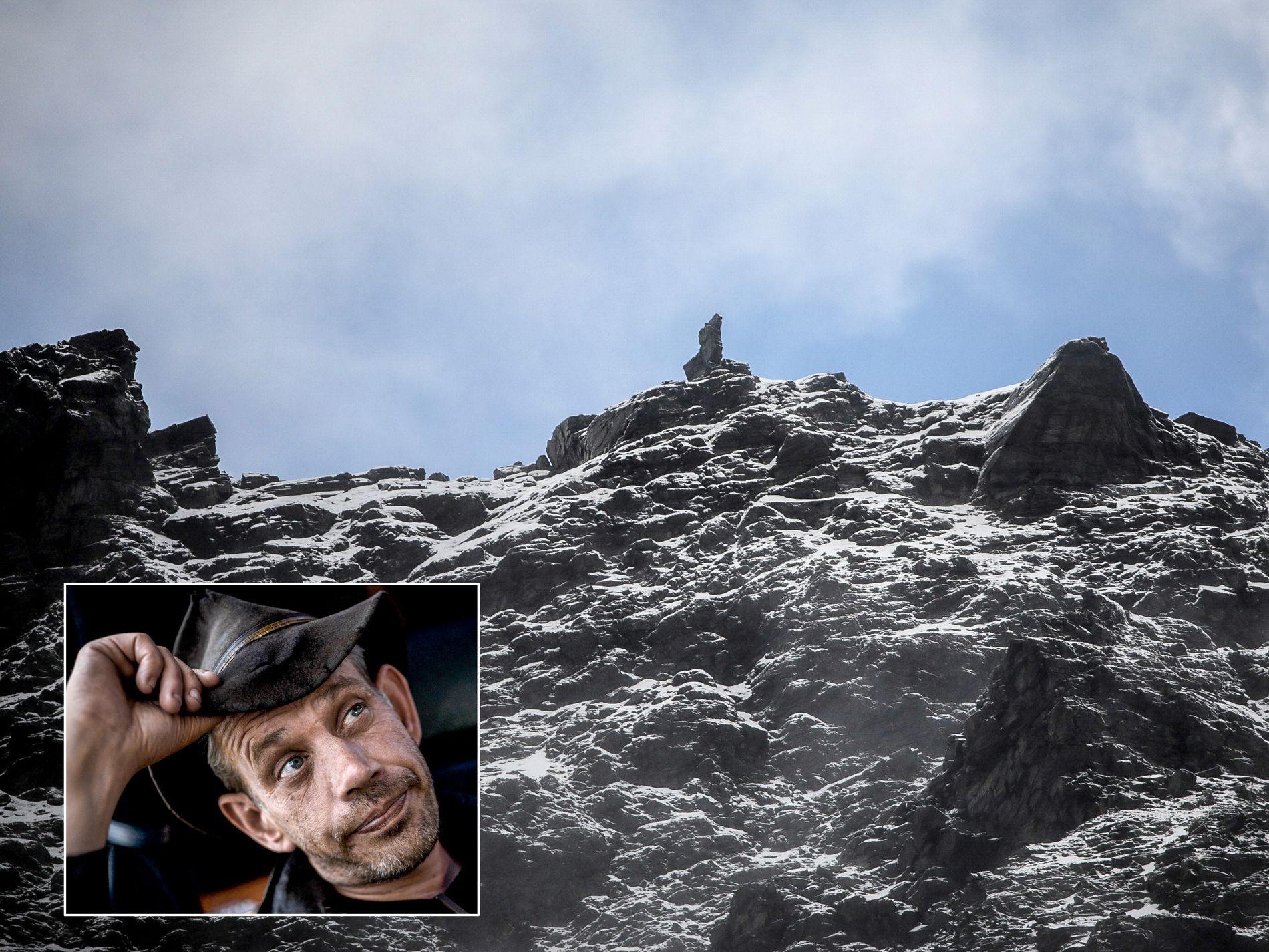 TILBYR SIN HJELP: Leif Einar Lothe mener det hadde vært morsomt å sprenge det ustabile fjellpartiet «Veslemannen».