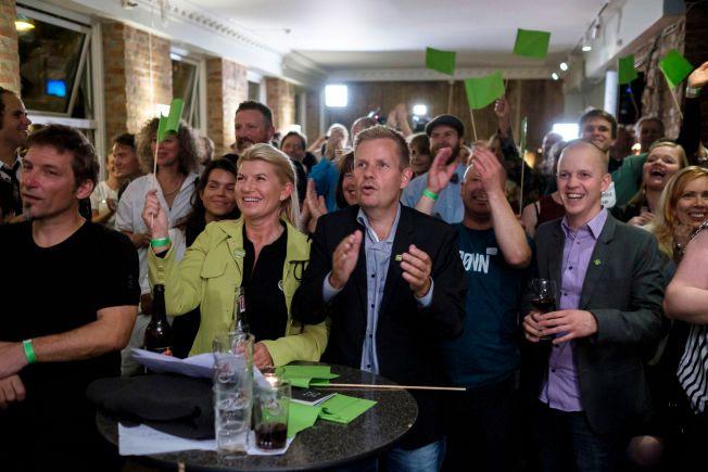 VILL JUBEL: Miljøpartiet de grønne har gjort et brakvalg og har mangedoblet sin oppslutning i storbyer. På valgvaken understrekes at partiet vil være villig til å snakke med alle partier fir å danne byråd.