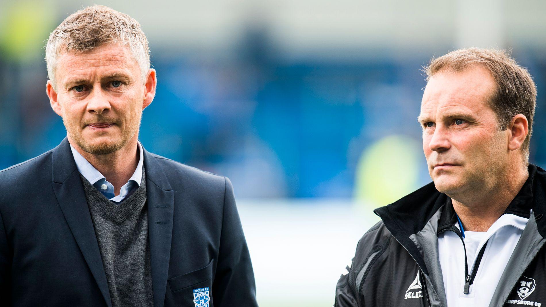 SPENTE: Ole Gunnar Solskjær og Geir Bakke leder hvert sitt lag i Europa League-kvalifiseringen.