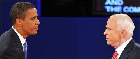 STORE OPPGAVER: Barack Obama (t.v.) eller John McCain må løse vanskelige oppgaver fra første dag i De hvite hus. Foto: AFP