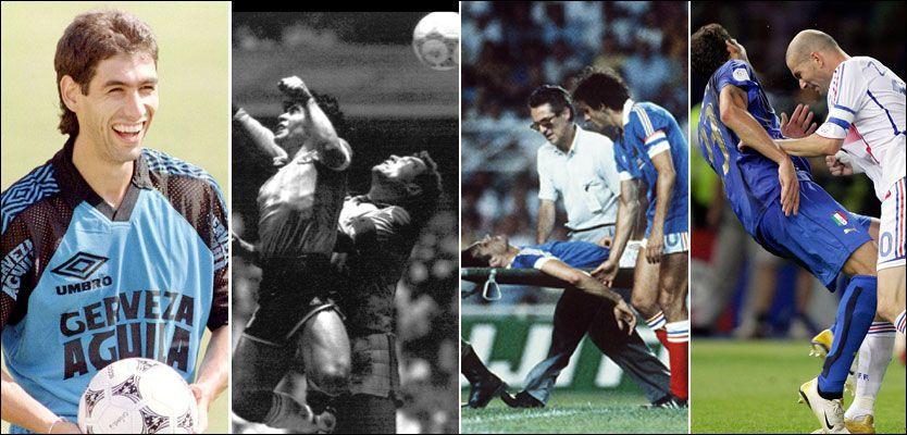 KONTOVERSER: Andres Escobar måtte bøte med livet, Diego Maradona scoret med hånda, Patrick Battiston ble smadret av en utrusende tysk keeper og Zinedine Zidane skallet ned Marco Materazzi. Foto: AP, Scanpix, Reuters