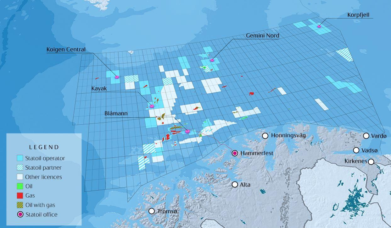 FEM BRØNNER: Dette er de fem letebrønnene i Statoils leteprogram i Barentshavet i sommer og høst, som bores av riggen Songa Enabler.