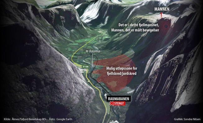 STILLE FØR STORMEN: Geologene overvåker det rasutsatte området ved fjellet Mannen i Rauma, og frykter at nedbør kan framskynde bevegelsene.