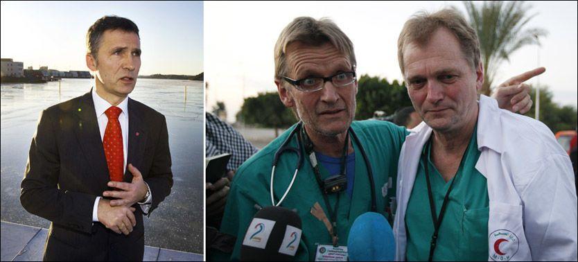 SKRYTER AV GAZA-LEGENE: Statsminister Jens Stoltenberg har tatt personlig kontakt med den norske legeduoen Mads Gilbert (t.v) og Erik Fosse. Foto: FRODE HANSEN/AP