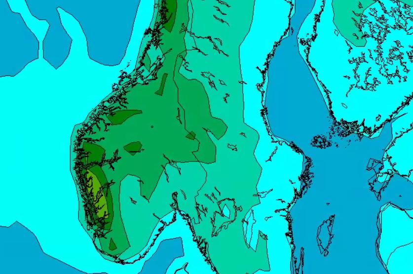 GRØNT ER REGN: Her er en fremstilling av hvordan nedbøren kan bli fredag 15. juni. Da ventes en større omlegging av værregimet – med lavtrykk inn fra Atlanterhavet.