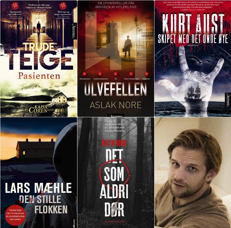 FEM NOMINERTE: Her er de fem nominerte bøkene til årets Rivertonpris - og nederst til høyre en av VGs favoritter til å vinne: Aslak Nore.