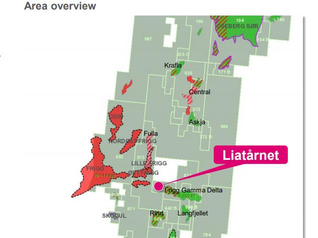 Liatårnet-funnet ligger midt i det avbildede Noaka-området i Nordsjøen. Aker BP er dominerende i lisensene i sør, mens de og Equinor eier halvparten av de nordlige delene Krafla/Askja.
