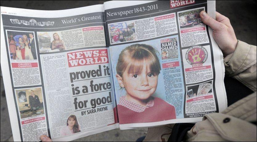 SLUTT: Denne dobbelsiden er fra den siste utgaven til News of the World og hyller avisens kampanje for Sarahs Lov. I kjølvannet av medieskandalen ventes nye regler for reguleringen av pressen. Foto: Afp