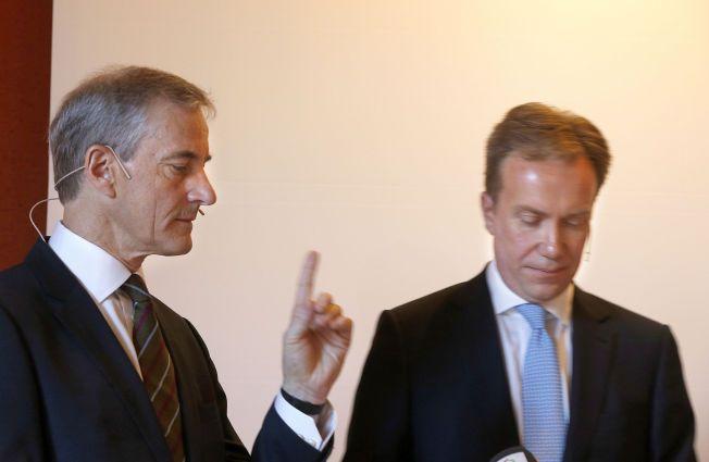 PENGER PÅ GANG? Verken utenriksminister Børge Brende (H) eller Ap-leder Jonas Gahr Støre vil kvittere ut en Syria-milliard, da de møttes i Rederiforbundet onsdag morgen.