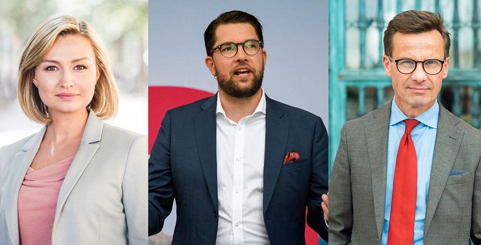 REGJERING? SD-leder Jimmie Åkesson utelukker ikke et samarbeid med Kristdemokraternas leder Ebba Busch Thor og Moderaternas leder Ulf Kristersson etter valget.