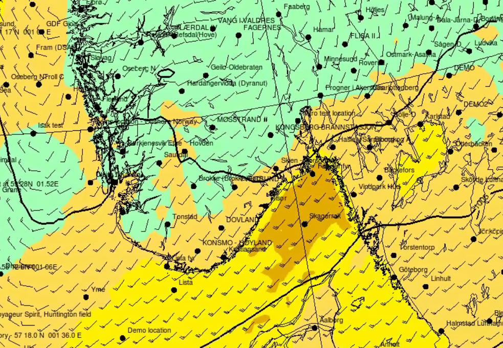 VIND SØNDAG: Også søndag vil det blåse kraftig flere steder, blant annet ser det ut til at Ytre Oslofjord kan få kortvarig stiv kuling søndag.