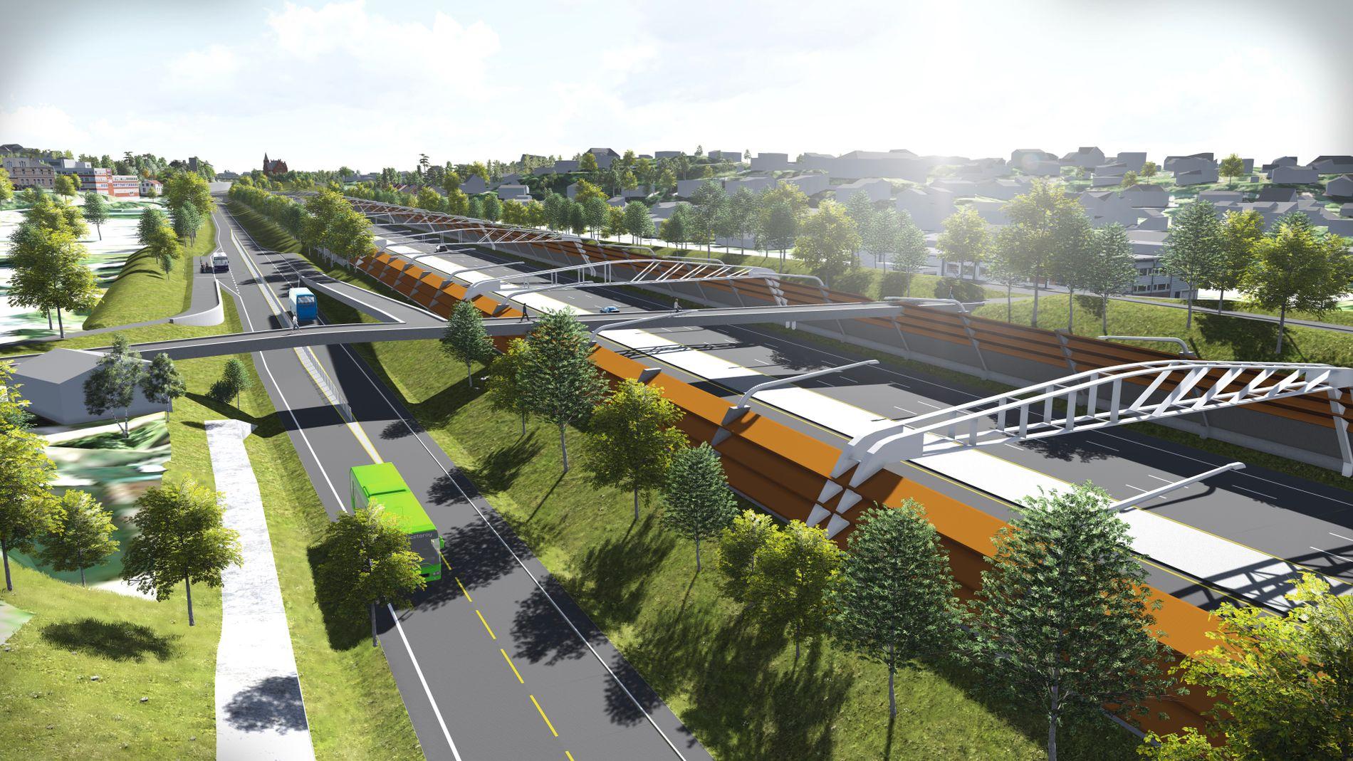 NY E18 PÅ HØVIK: Illustrasjon av ny E18 - oppe i dagen på Ramstadsletta ved Høvik i Bærum. Til venstre: En egen bussvei som utelukkende skal trafikkeres av busser.