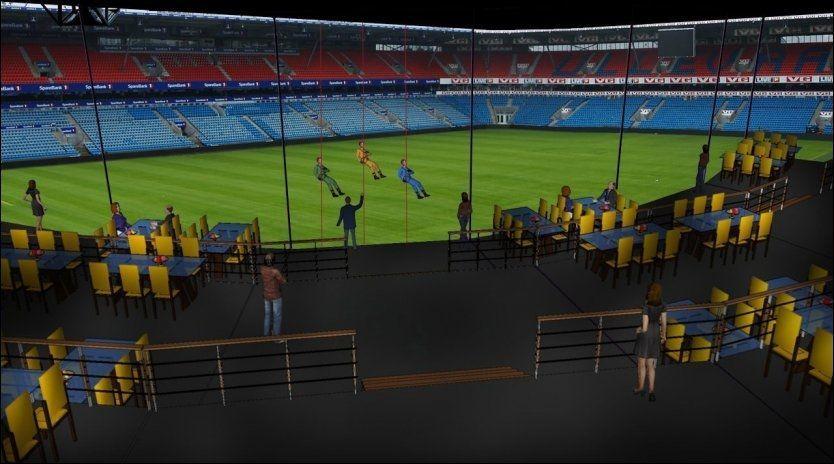 INNENDØRS: Glassbalkongen kan romme rundt 800 personer og kan brukes både under kamp og til andre arrangement. Foto: Ullevaal Stadion