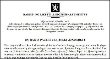287beb6a ANGRESKJEMA: Dette skjemaet skal følge alle forsendelser fra norske  nettbutikker. Følger det ikke med får du utvidet angrefrist. Foto:  Skjermbilde