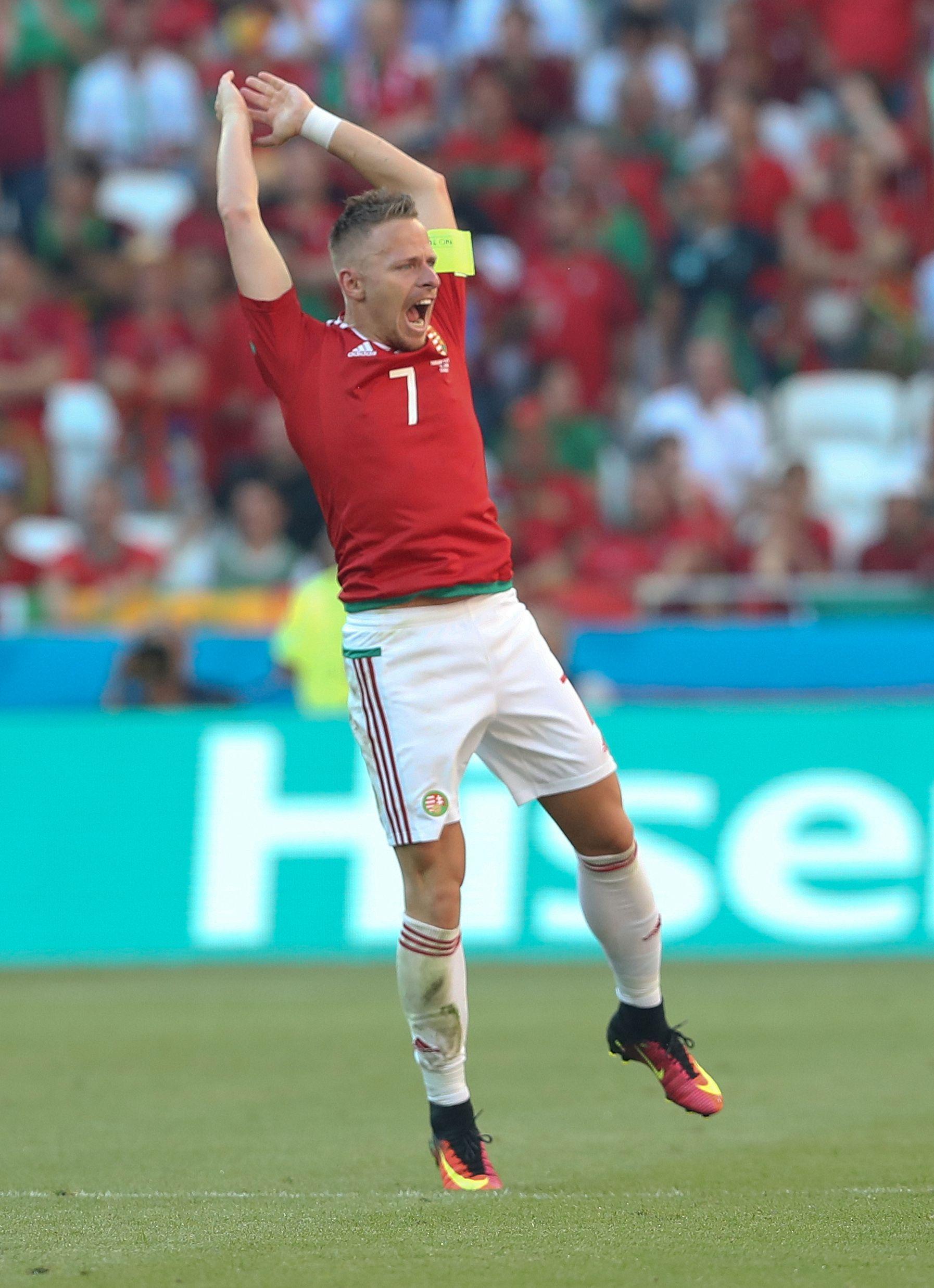 UNGARN-HELT: Takket være to mål av denne mannen, Balazs Dzsudzsak, er Ungarn sensasjonelle gruppevinnere.