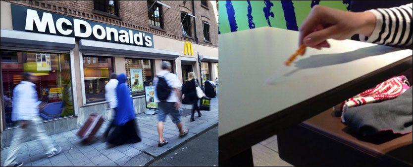 VERSTING I BAKTERIEMÅLING: McDonald's på Grønland i Oslo var den desidert mest skitne av de fem McDonalds-restaurantene som ble testet. Med denne forureningsmåleren kunne testen konstaterte skyhøye mengder bakterier. Foto: Helge Mikalsen og TV 2