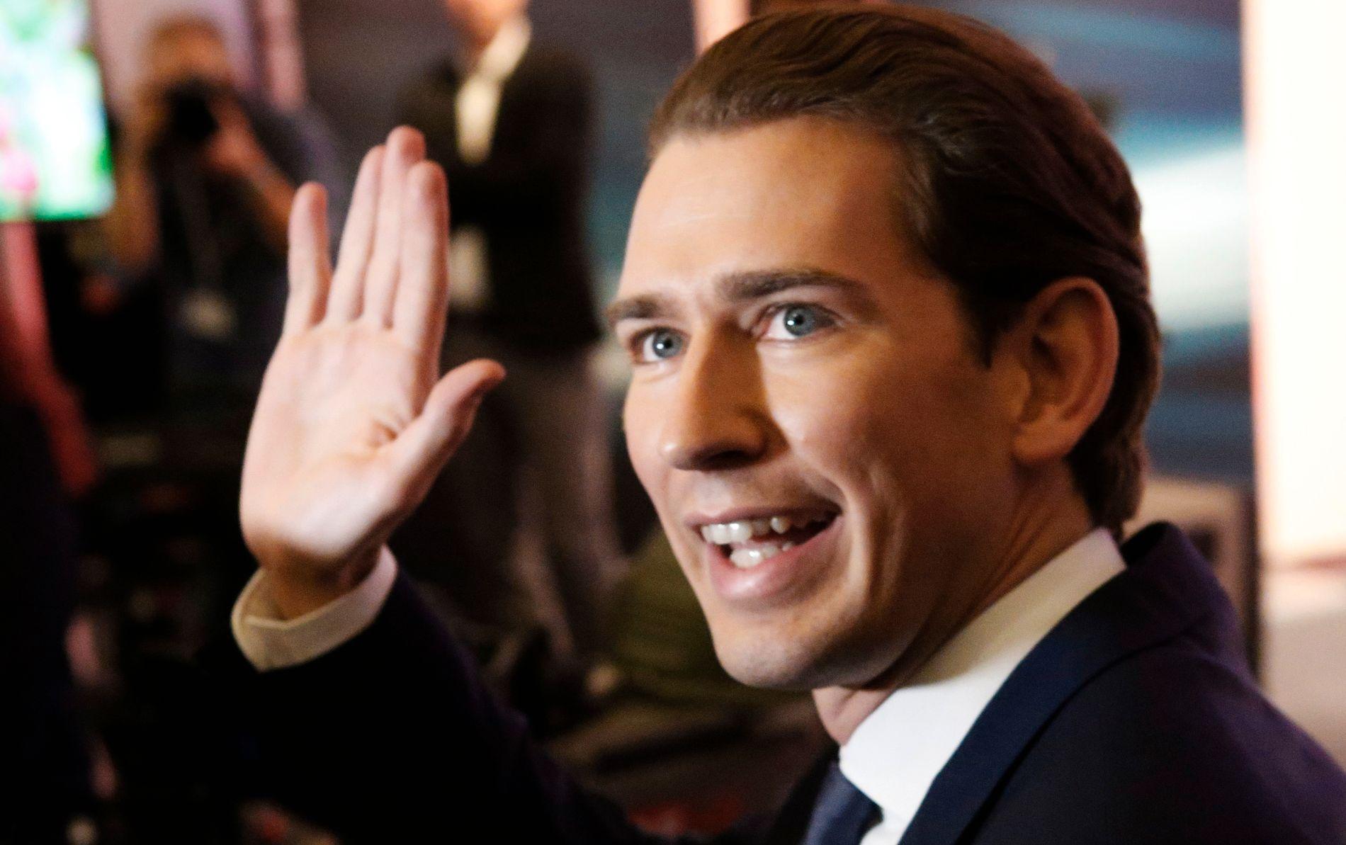 VALGVINNER: Sebastian Kurz (31), leder av det konservative folkepartiet ÖVF, erklærte seg for valgets vinner søndag kveld.