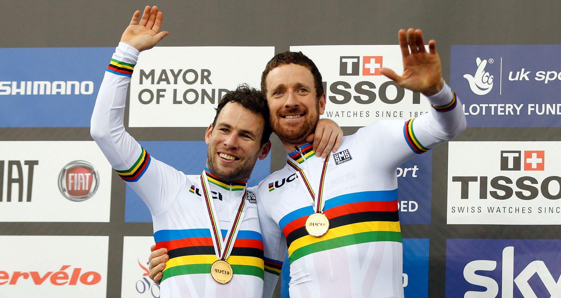GODE VENNER? Mark Cavendish og Bradley Wiggins var en gang gode venner. Her feirer de på podiet etter å ha tatt gull i Mens Madison World Track Cycling mesterskapet i London tidligere i år.