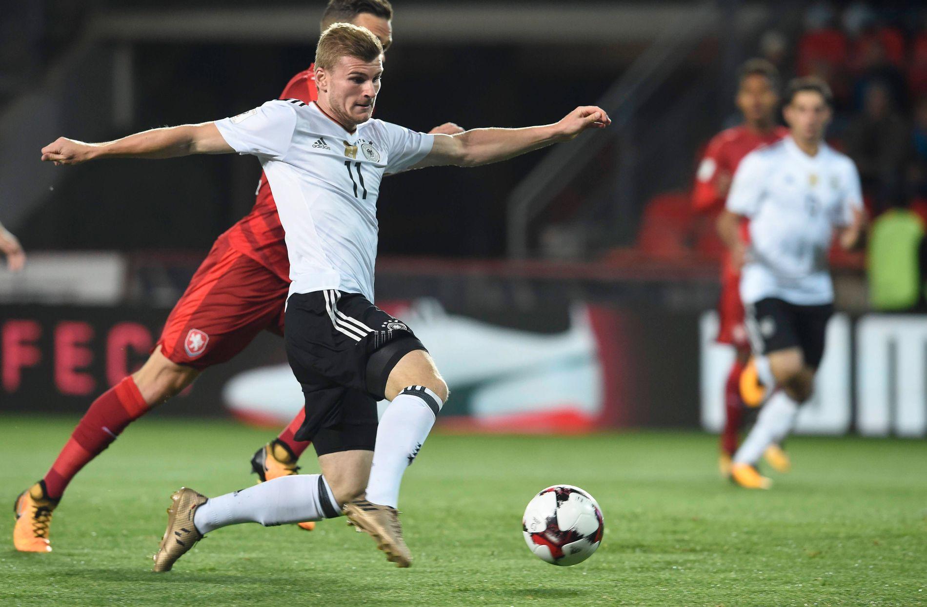 MOBBET: Spissfunnet Timo Werner scoret Tysklands første mål i fredagens VM-kvalifisering mot Tsjekkia. Etterpå ble han hetset.