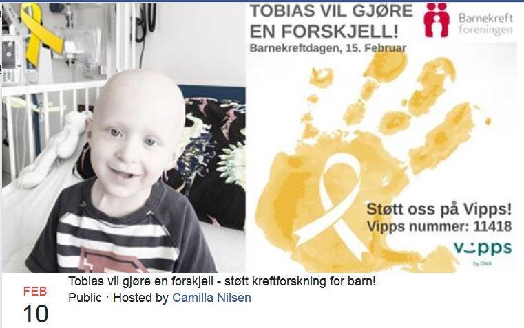 VIL BIDRA: Familien har opprettet en innsamlingsaksjon til Barnekreftforeningens forskningsfond i Tobias' navn.