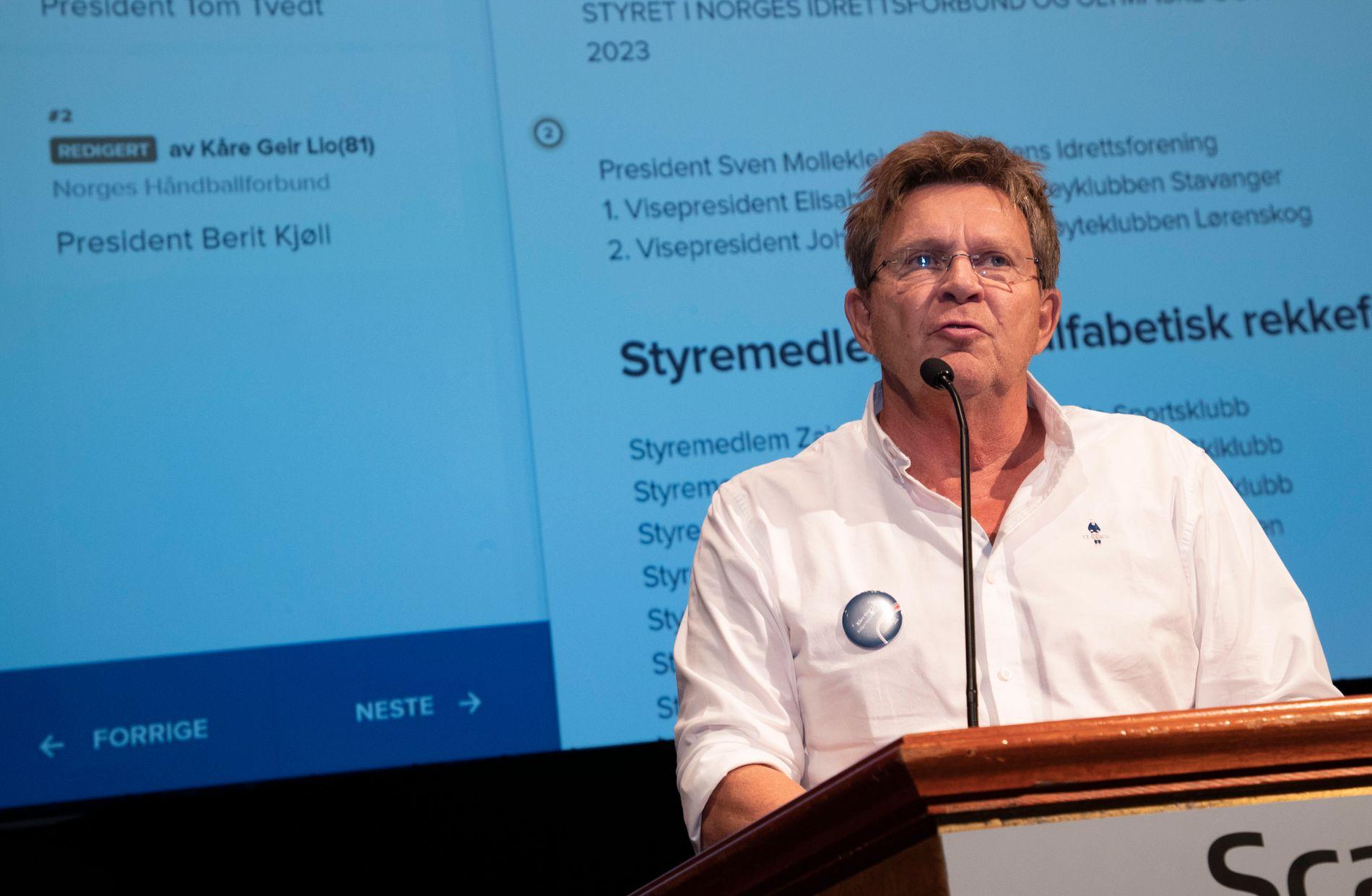 STØTTESPILLER: Håndballpresident Kåre Geir Lio taler til Idrettstinget på Lillehammer forrige helg.